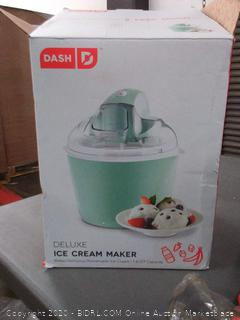 Dash DIC001AQ Deluxe Ice Cream Frozen Yogurt & Sorbet Maker With Easy Ingredient Spout, Double-Walled Insulated Freezer Bowl & Free Recipes, 1 quart, Aqua(powers on)