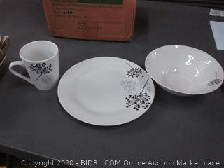 Gibson Northern Wood 12-piece dishware set white with black cherry decal