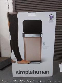 simplehuman 45 Liter / 12 Gallon Stainless Steel Rectangular Kitchen Step Trash Can with Liner Pocket, Rose Gold Stainless Steel(brand new in box)