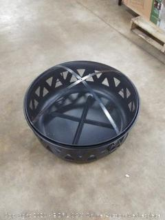 black fire pit with screen top missing legs