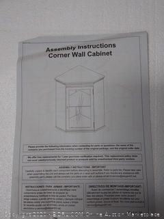 corner wall cabinet with glass panel