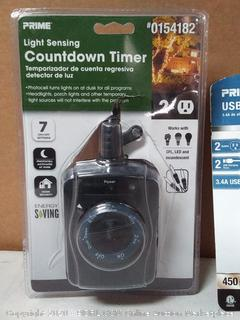 Prime light-sensing countdown timer + Prime USB charger with surge protection