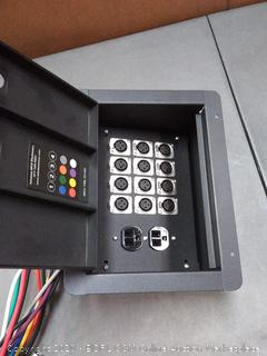 Pro Audio Stage Recessed Floor Box with 110v Electric and XLR Connections (12 XLR, Pre Wired)