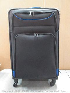 coolife luggage suitcase softshell lightweight black and blue