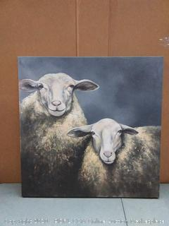 HOME DECOR Two Sheep's Wrapped Canvas, 36x36, White