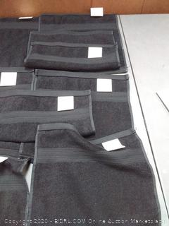 Fade-Resistant Cotton Washcloths - Pack of 12 Black