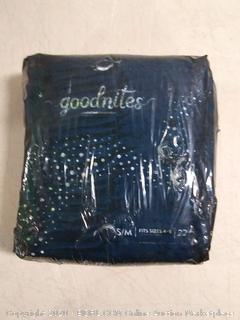 Goodnites nighttime underwear. small / medium fits size 4 to 8 22 count