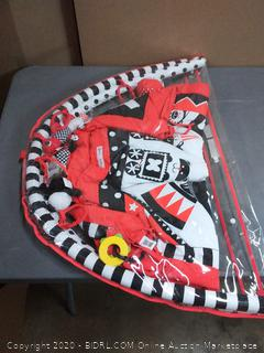 Black, white and red activity 3D play mat engine