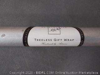 silver polka-dotted treeless gift wrap