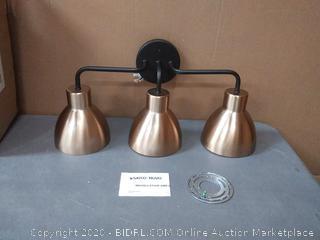satco Nuvo 3 light vanity mate black brushed brass