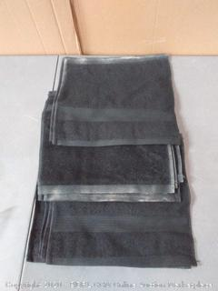 amazonbasics 12 x 12 in Black wash towels 12 count