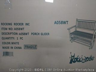 rockingrocker - A058WT White Porch Wood Glider Bench Rocker Patio Wooden Loveseat — Assembled Dimensions:W49.21 x H40.16 x D26.97 inches (online $229)