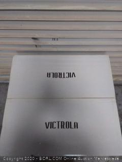 victrola entertainment stand with record holder