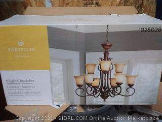 Portfolio Colton Lakes 9-Light Oil-Rubbed Bronze Transitional Tinted Glass Tiered Chandelier (online $229)