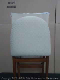 set of two wooden fold-out chairs fabric material