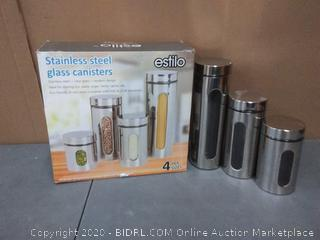 Estilo 4 piece glass and stainless steel canisters with window