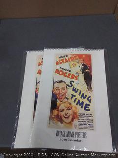 Set of two vintage movie posters 2019 calendar.