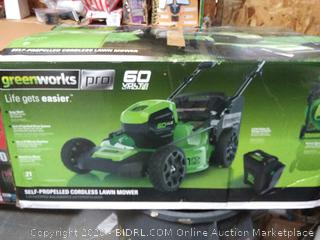 Greenworks Pro self-propelled cordless lawn mower(battery powers on) online $499