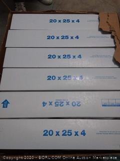 Aerostar 20 in x 25 in x 4 in Merv 11 pleated air filters 6 pack (online $72)