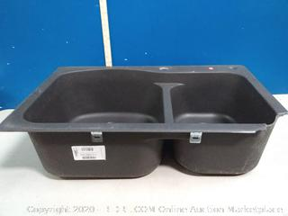 Franke 33-in x 22-in Graphite Double Offset Bowl undermount Sink(corner cracked/hole) online $289