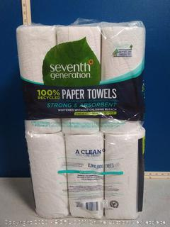 Seventh Generation Paper Towels, 100% Recycled Paper, 2-ply, 6-Count 2pck 12rolls