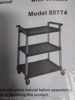 MaxWorks 3-Shelf Utility Plastic Cart with Wheels-225 Lbs