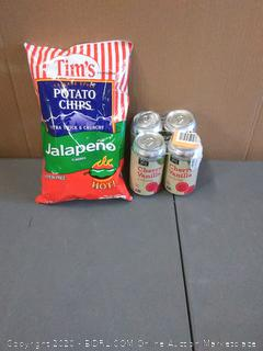 Tim's Cascade style potato chips jalapeno flavored and 365 everyday value cherry vanilla cream soda 4 pack's lightly damaged