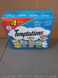 Temptations variety 4-pack cat treats chicken seafood creamy Dairy and tuna flavor
