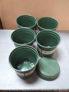 gardening plastic pots 5 pack with lids