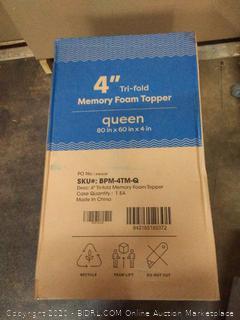tri-fold 4 inch memory foam topper Queen