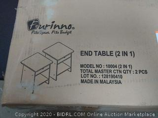 furinno end table 2 in 1(1 table has all pieces one table top broken)