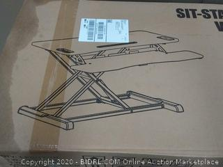 sit-stand desktop workstation MDF plus PVC wood grain finish