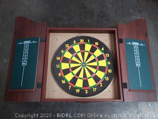 Trademark Gameroom Dartboard Cabinet Set with Realistic Walnut Finish (broken bottom)