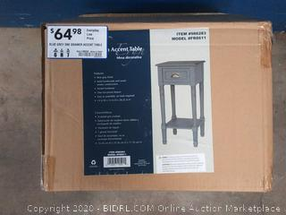 blue gray one drawer accent table