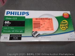 Philips Globe G25 60w replacement bulbs 3 pack