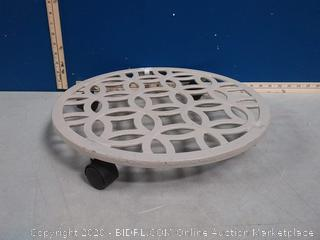 allen + roth plant caddy 17in x 17in x 2.7 in(missing one wheel)
