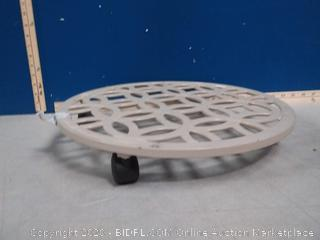 allen + roth plant caddy 17in x 17in x 2.7 in(one wheel missing)