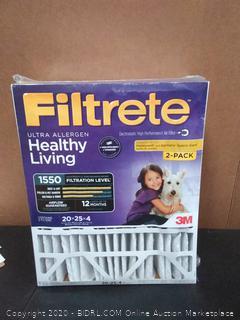 Filtrete 20x25x4, AC Furnace Air Filter, MPR 1550 DP, Healthy Living Ultra Allergen Deep Pleat, 2-Pack