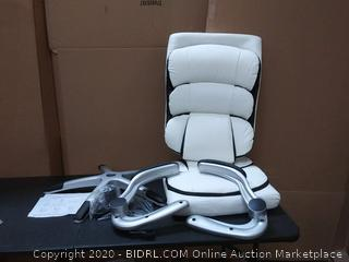 B2C2B High Back Ergonomic Home Office Chair White Leather Computer Executive Desk Chair Modern Racing Chair Adjustable with Flip-up Arms Lumbar Support 300lbs