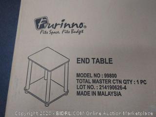 Furinno 99800GYW/BK French Oak Turn-N-Tube End Table, Grey