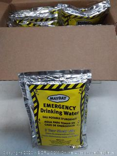 12 pouches of 5-year shelf life u.s. Coast Guard approved emergency drinking water fires January 202 1
