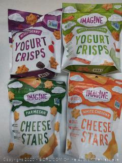 4 count sampler imagine snacks yogurt crisp mixed berry apple cinnamon white cheddar cheese stars and parmesan cheese Stars EXP 03 2020
