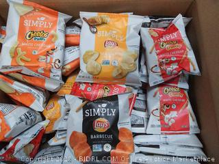 36 count simply mix Cheetos crunchy and white cheddar sea salted Lays white cheddar Puffs and Lays barbecue EXP 1 / 20 20