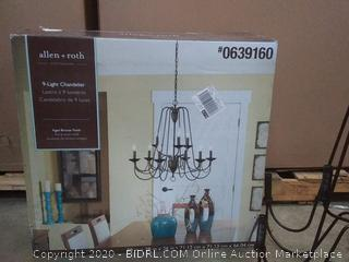 allen + roth Wintonburg 9-Light Aged Bronze French Country/Cottage Chandelier (Retails $149) Model # B10091 28 in X 28 in X 26 in