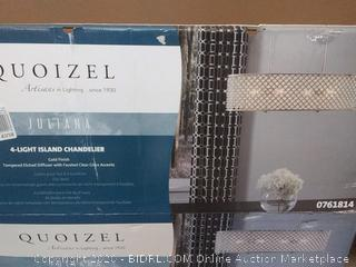 QUOIZEL Juliana 4-Light Chandelier with Crystals, Gold Finish, Etched Glass(Retails $205)