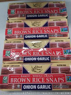 Edward and Sons baked whole grain brown rice snaps onion garlic( 4 pack)