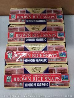 Edward and Sons baked whole grain brown rice snaps onion garlic 4 pack