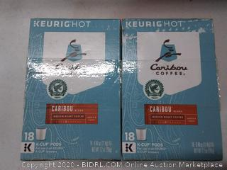 Caribou blend medium roast coffee K-Cups two boxes 36 K Cups