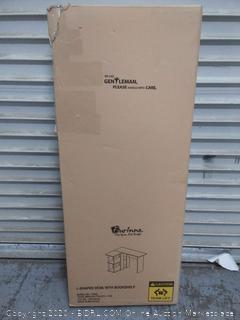 L shaped desk with bookshelf Factory sealed box damaged come preview