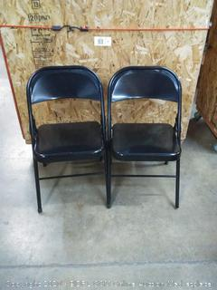 Flash Furniture 2 Pk. HERCULES Series Triple Braced & Double Hinged Black Metal Folding Chair,